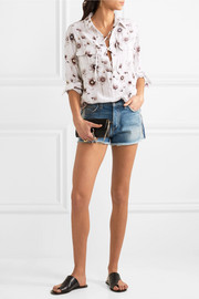 Equipment Knox lace-up floral-print washed-silk shirt