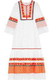 Tory Burch Annalise broderie anglaise-trimmed embroidered cotton midi dress