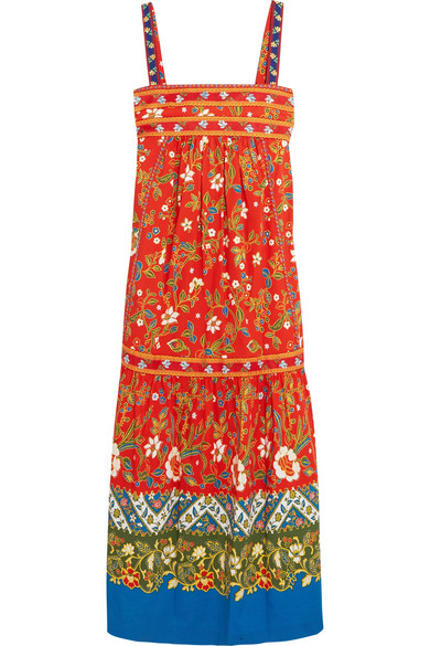 Tory Burch - Dayton Embroidered Printed Cotton-blend Midi Dress - Orange