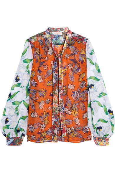 Tory Burch - Kia Pussy-bow Floral-print Silk-chiffon Blouse - Orange