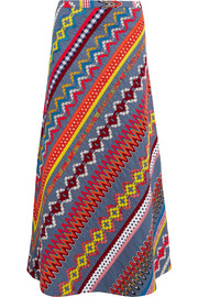 Tory Burch Clemente embroidered cotton maxi skirt