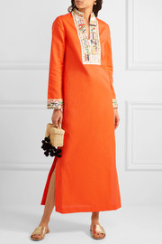 Tory Burch Embroidered linen and cotton-blend maxi dress