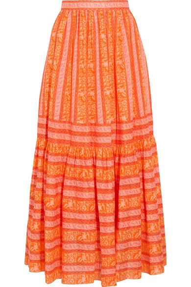 Tory Burch - Tiered Printed Cotton-poplin Maxi Skirt - Orange
