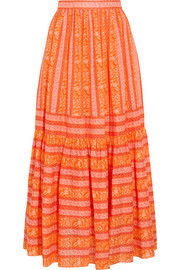 Tory Burch Tiered printed cotton-poplin maxi skirt