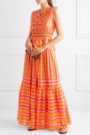 Tiered printed cotton-poplin maxi skirt