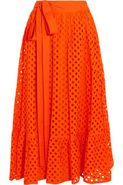 Tory Burch Hermosa broderie anglaise cotton wrap skirt