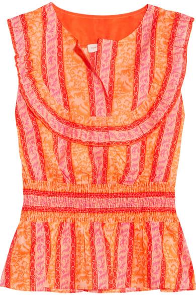 Sunwise Shirred Printed Cotton-poplin Top - Orange Tory Burch Extremely Online NxpxGJ
