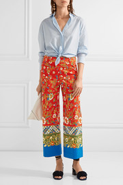 Tory Burch Dayton cropped printed cotton-blend straight-leg pants