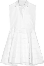 Tiered guipure lace-trimmed cotton-twill mini dress