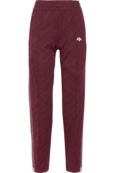 Adidas Originals By Alexander Wang - Embroidered Jacquard Track Pants - Burgundy