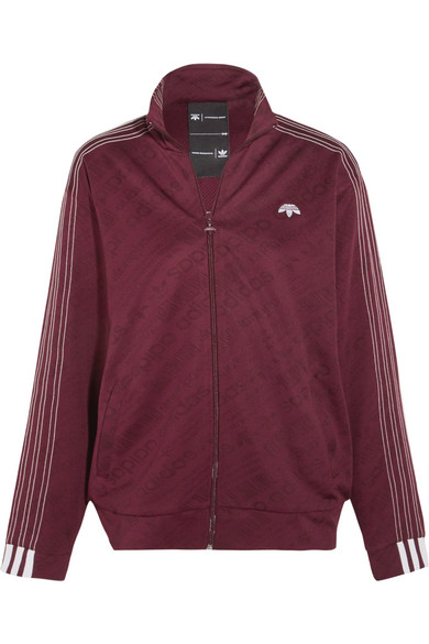 Adidas Originals By Alexander Wang - Embroidered Stretch-jacquard Jacket - Merlot
