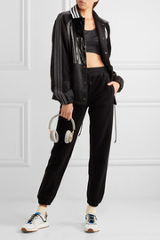 Patch shell, stretch-jersey and faux patent-leather jacket