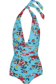 Printed ruched halterneck swimsuit