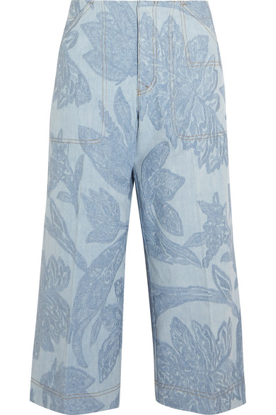 Acne Studios - Texel Cropped Embroidered Denim Wide-leg Pants - Light blue
