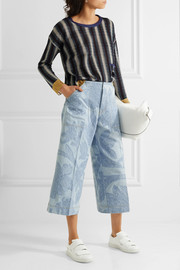 Texel cropped embroidered denim wide-leg pants