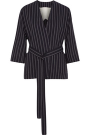 Jada belted pinstriped wool blazer
