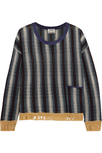Acne Studios - Blanca Distressed Striped Knitted Sweater - Navy