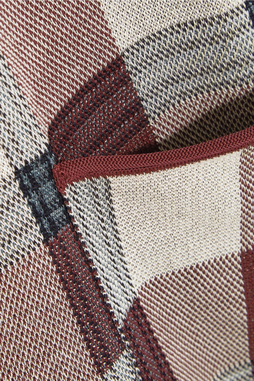 Acne Studios Bibi metallic-trimmed checked stretch-knit top