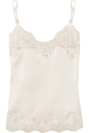 Lace-trimmed silk-blend satin camisole