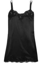 Lace-trimmed silk-blend satin chemise
