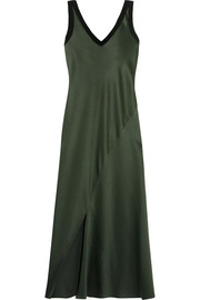 Jersey-trimmed satin midi dress