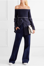 DKNY Off-the-shoulder stretch-knit and poplin top