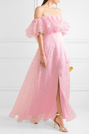 Temperley London Off-the-shoulder fil coupé silk-blend organza gown