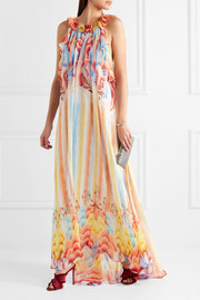 Temperley London Nymph printed silk-chiffon halterneck gown