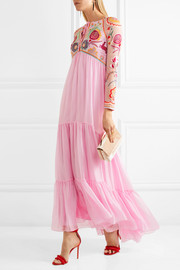 Temperley London Chimera embroidered tulle and silk-blend maxi dress