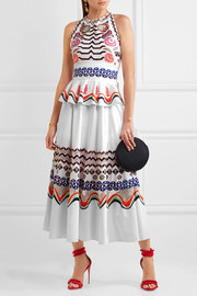 Temperley London Spellbound embroidered cotton-poplin midi dress