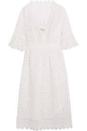 Titania guipure cotton-lace midi dress