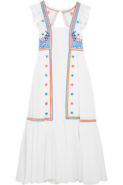 Spellbound embroidered poplin and Swiss-dot cotton dress