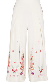 Lysander cropped embroidered crepe wide-leg pants