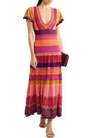 Temperley London Sunlight striped crochet-knit midi dress