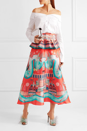 Temperley London Nymph printed silk peplum midi skirt