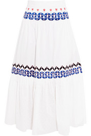 Spellbound embroidered poplin and Swiss-dot cotton midi skirt