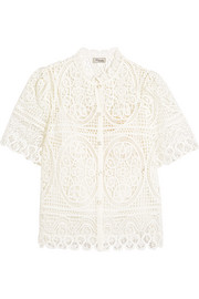 Titania guipure cotton-lace blouse