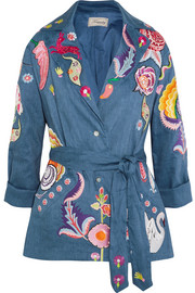 Hermia embroidered stretch linen and wool-blend jacket