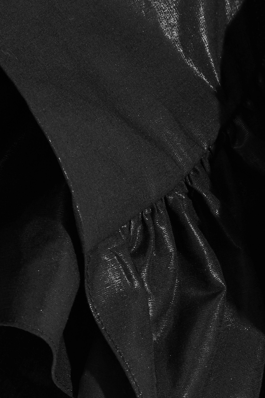 Isabel Marant Lavern one-shoulder ruffled coated cotton-blend mini dress