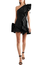 Lavern one-shoulder ruffled coated cotton-blend mini dress
