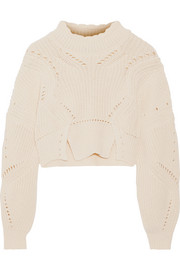 Isabel Marant Gane cropped pointelle-trimmed cotton and wool-blend sweater