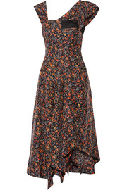 Rocky asymmetric printed silk-voile midi dress