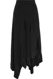 Odelia asymmetric silk maxi skirt