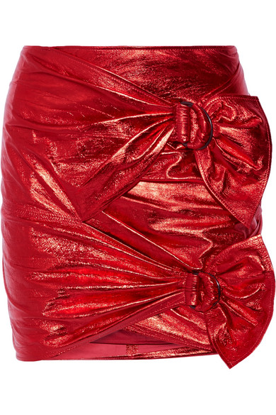 Isabel Marant - Doll Metallic Leather Mini Skirt - Red