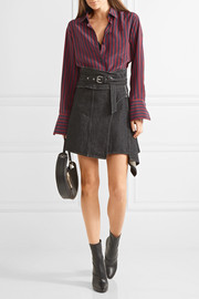 Eydie asymmetric wrap-effect denim skirt