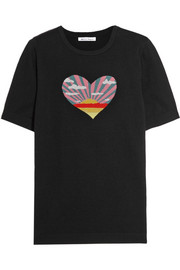 Bella Freud Sunset Heart intarsia cotton and cashmere-blend top