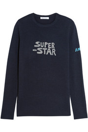 Bella Freud Super Star metallic intarsia wool-blend sweater