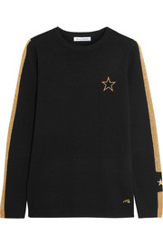 Bella Freud Libertine embroidered metallic intarsia wool-blend sweater
