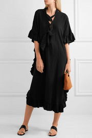 See by Chloé Ruffled cotton and linen-blend midi dress