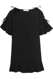 Ruffled crepe mini dress